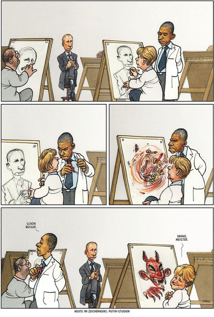 """Haderer-Karikatur vom 13. September 2014: """"Heute im Zeichenkurs: Putin-Studien"""" … – Simone ♥"""
