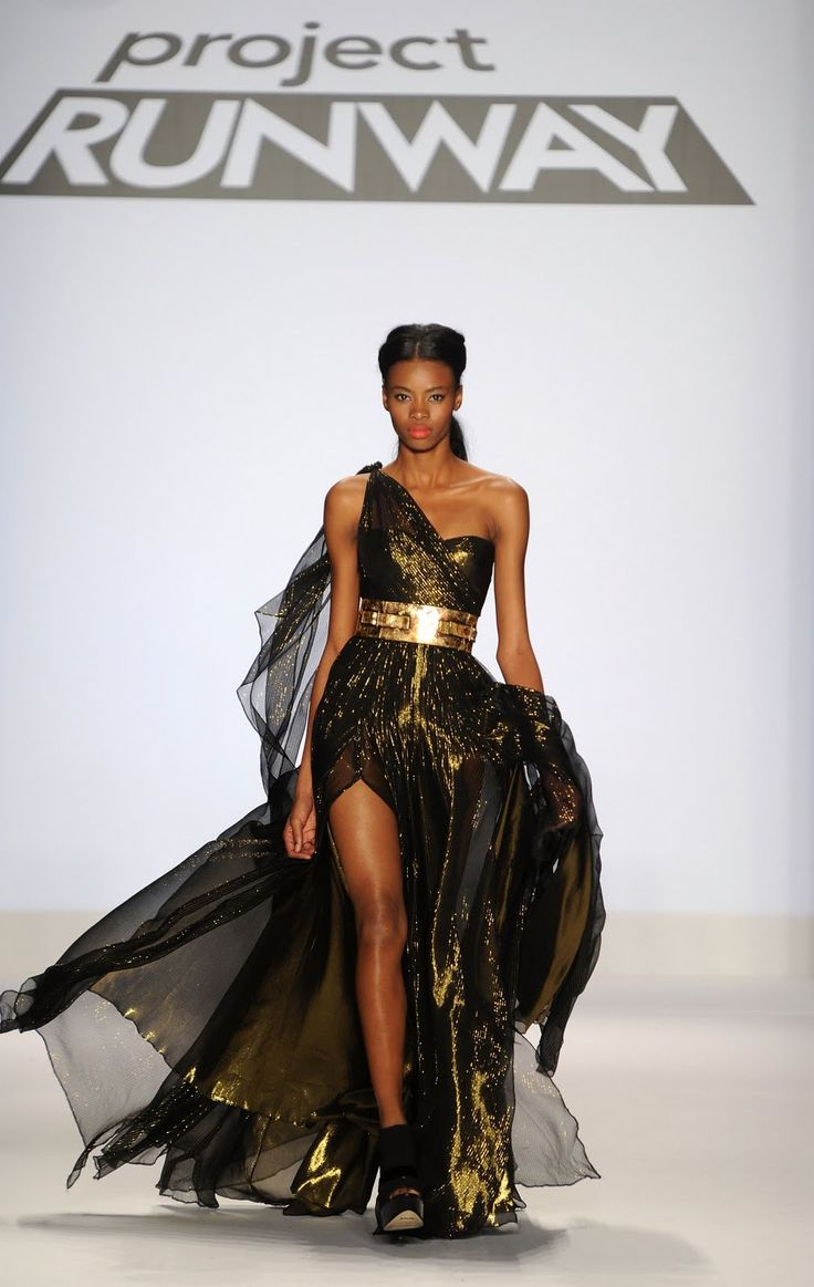 evening gown runway | ... runway in emilio sosa s shimmering evening dress at the project runway