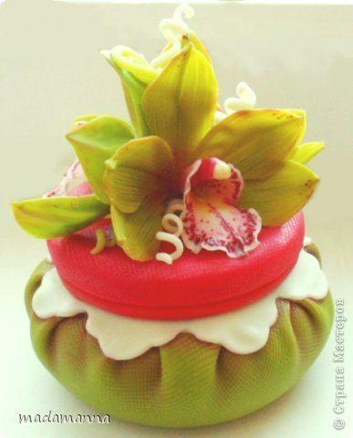 холодный фарфор шкатулка орхидея цимбидиум декор лепка porcelana fria