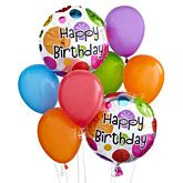 Happy Birthday Balloon Bouquet with 3 mylar balloons & 5 latex balloons. Delivery to your recipient's door! Order before 3pm for same-day delivery.