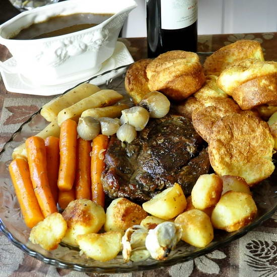 Burgundy Thyme Pot Roast with Yorkshire Pudding Popovers and English Style Roasted Potatoes - what a terrific Sunday dinner comfort food meal.