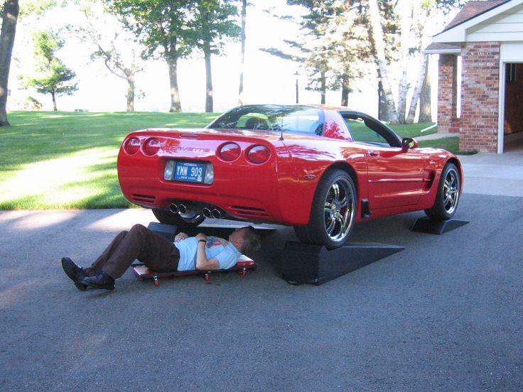 Working under Corvette with Race Ramps. | Corvette Board ...