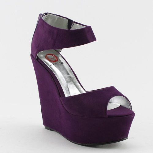 Purple Ankle Strap Faux Suede Platform Peep Toe Wedge