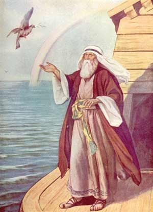 Guds pakt med Noah. Regnbuen er symbolet på at menneskeheta ikke skal utslettes