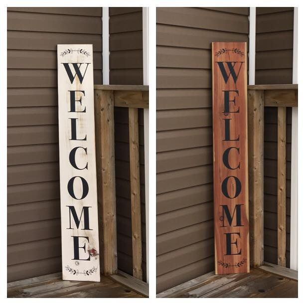"""Welcome Signs. 48"""" x 7 1/4"""" Rustic painted or naturally conditioned with our very own eco friendly aging solution. Visit our Facebook page at www.facebook.com/PepperCreekCraftsmanCo"""