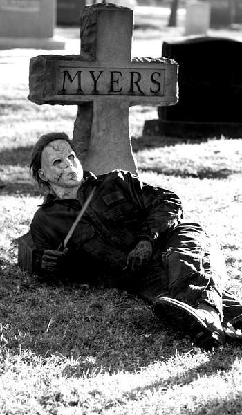 michael myers hanging out in the cemetery grave halloween movie movies horror films - Halloween 1