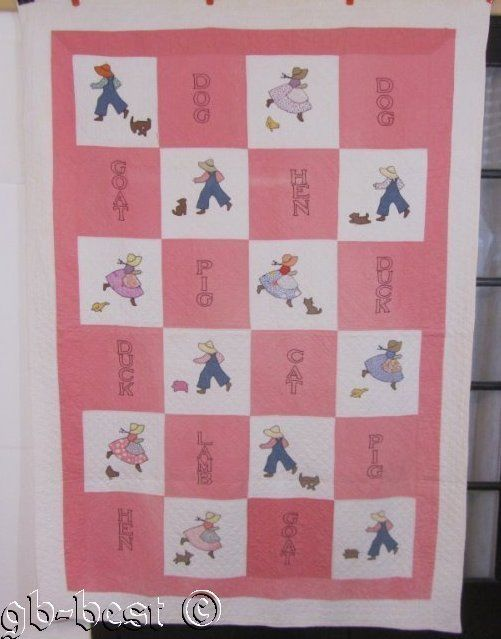 nver seen before! 30s Down on the farm SUE Bonnet Overall Sam Vintage QUILT Pig