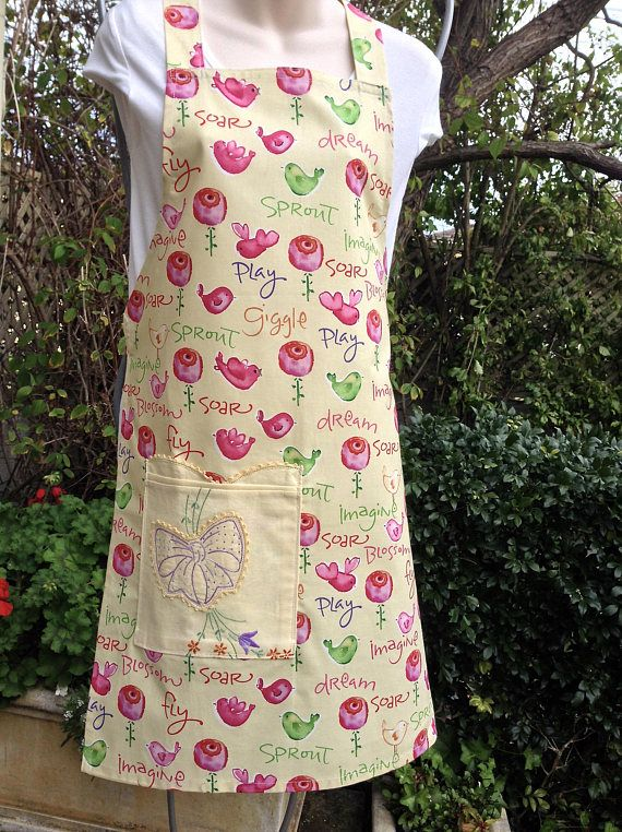 Handmade Bib Apron Medium Size Pink Green Buttercream Cotton