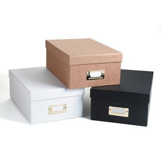 Perfect to store your papers under the work table in your booth.  Darice® Photo Storage Box - White