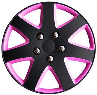 "13"" Matt Black Pink Wheel Trims"