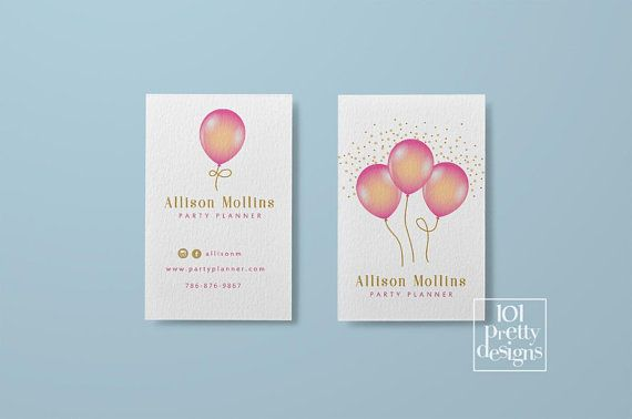 Balloons Business Cards Printable Business Card Design Party