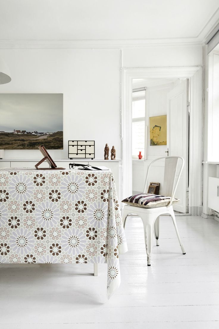 Almost Linen Oilcloth in Marroc Lavender & Grey. Buy online