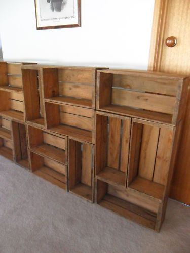 vintage fruit crates, set of 10 on ebay Australia. Would look amazing as a shop display or storage wall for studio More