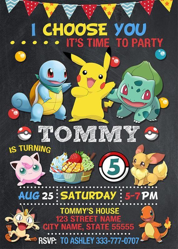 Pokemon Invitation Pokemon Birthday Invitation Pokemon Etsy Pokemon Invitations Pokemon Party Pokemon Birthday