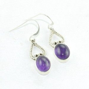 #Solid 925 Sterling Silver #Purple #Amethyst #Earring from Akrati Jewels Inc
