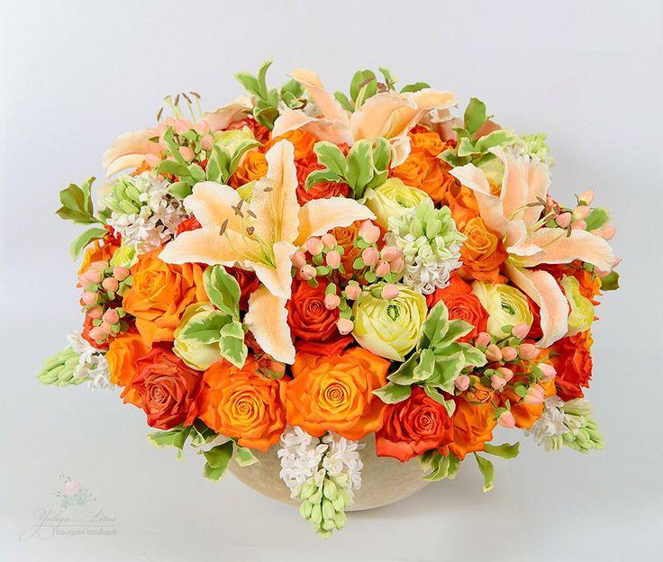 Интерьерный букет из полимерной глины. flowerarrangement, flowers,  bouquet,  deco clay, polimer clay, clay flowers