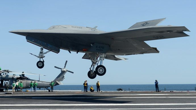 Unmanned drone makes first landing on US Navy aircraft carrier