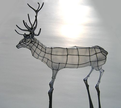Polyscene / Polly Verity / Wire and paper sculpture papercraft: Stag on Ice paper, wire 36 x 32 x 18cm