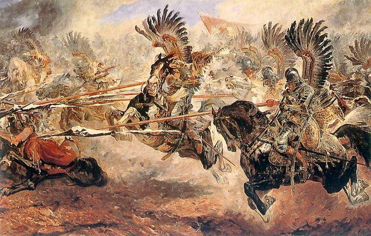 September 12, 1683. The massive charge of the Polish winged lancer-hussars which terrified the Ottoman troops and decided the Battle of Vienna. The wings made a terrifying sound as the Polish hussars came charging down the mountainside.