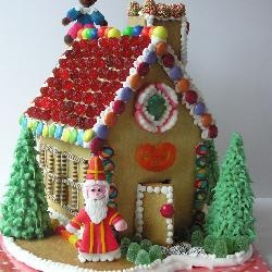 Speculaas Gingerbread House with Sinterklaas  & Zwarte Piet