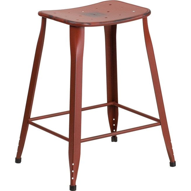 iHome Brimmes 24'' High Distressed Kelly Red Metal Indoor/Outdoor/Patio/Bar Counter Height Stool