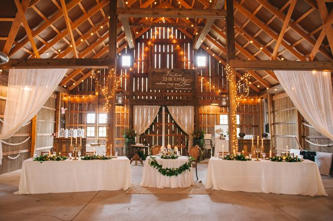 Barn reception tables with garland   Amanda Adams Photography   see more at http://fabyoubliss.com