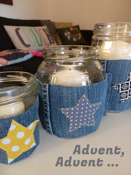 binedoro: DIY: Kerzen im Glas mit Jeansmantel - ein etwas anderer Adventskranz
