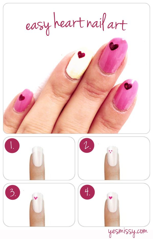 Nail DIY tutorial: easy heart nail art