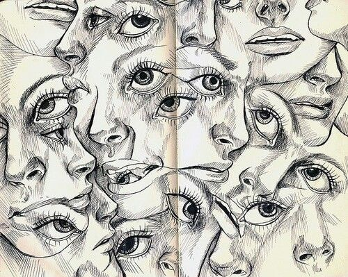Hier is sprake van een asymmetrische compositie, omdat als je de tekening door de helft doet allebei de kanten niet hetzelfde zijn.