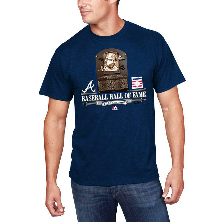 John Smoltz Atlanta Braves Majestic 2015 Hall of Fame Inductee Plaque T-Shirt - Navy - $18.04