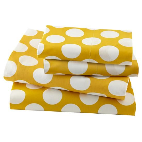 The Land of Nod | Sheet Set (Yellow Dot). Love these to go along with our grey striped bedding.