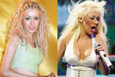 Christina aguilera before /after b.surgery