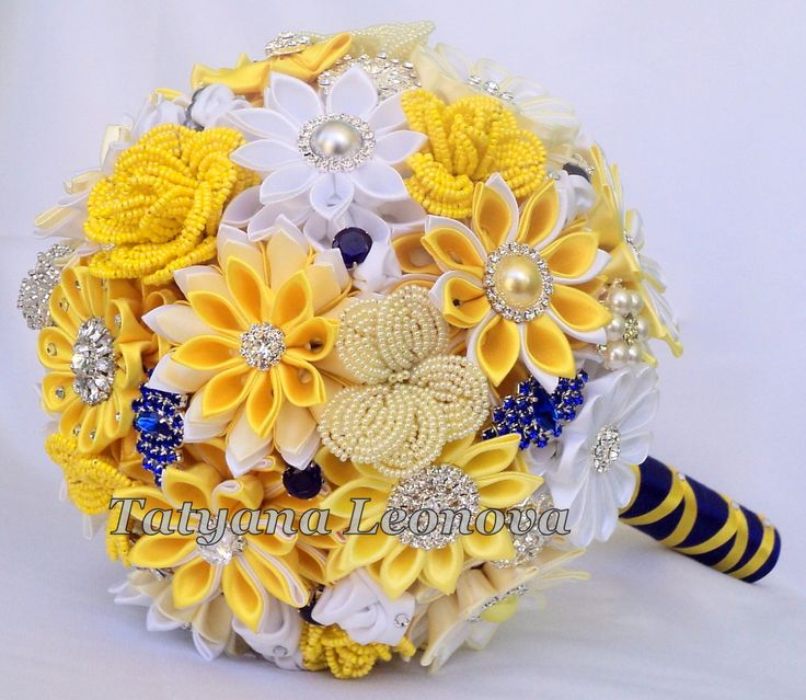 Fabric Wedding Bouquet brooch bouquet Chic Yellow Royal by LIKKO