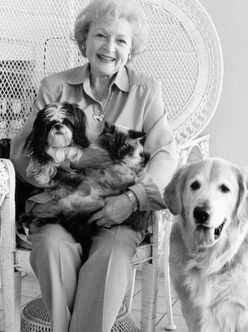 """Betty White may be one of the world's best known animal activists. Her animal charity work dates back to when she was a child, and she even admitted to the Chicago Tribune, """"My life is divided absolutely in half -- half is my animal work and half is show business."""" #celebrities #dogs"""