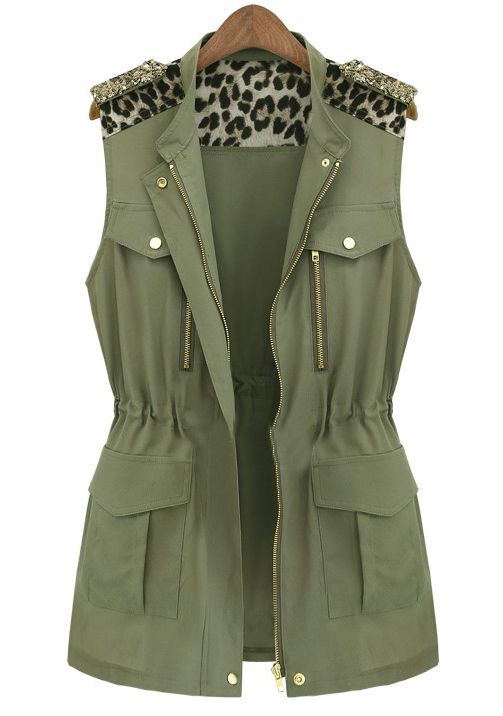 Army Green Sleeveless Contrast Leopard Epaulet Vest US$31.64.  From the epaulets, to the army green, to the leopard... this vest couldn't be any more me.