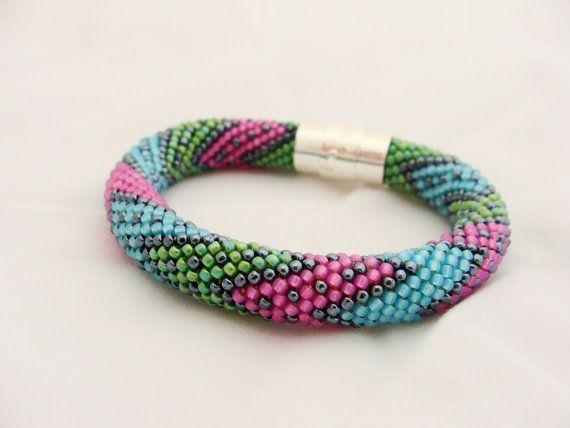 Bead Crochet Bracelet Seed Bead Bracelet Beadwork by IneseLoft
