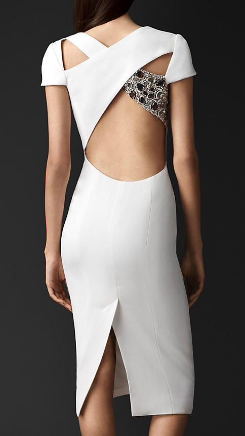 Burberry abito bianco schiena nuda dress white nude vestido blanco espalda desnuda