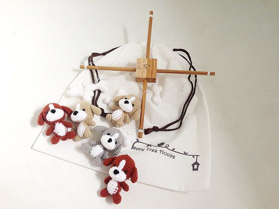 Puppy Crochet Baby Mobile Dog baby mobile Nursery decorDog