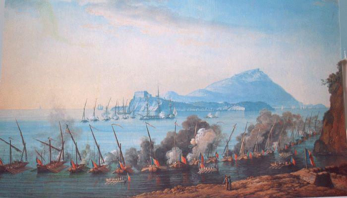 Saverio della Gatta - Battaglia tra navi inglesi e repubblicane nel canale di Procida - Museo di San Martino