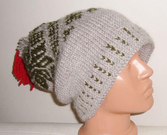 Men's Knit Hat Winter Wool in Beige Olive Green by earflaphats, $52.00