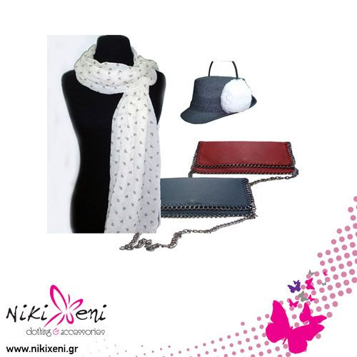 Earpuffs, scarf with hearts and cluthbag with a chain ending._fashion woman accessories.
