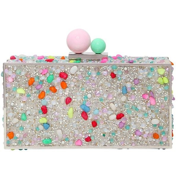 Sophia Webster Women Clara Crystal Box Clutch featuring polyvore, women's fashion, bags, handbags, clutches, multicolor, crystal box clutch, crystal handbags, crystal purse, ball purse and white clutches
