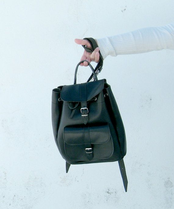 Black leather backpack womens leather backpack black by EATHINI