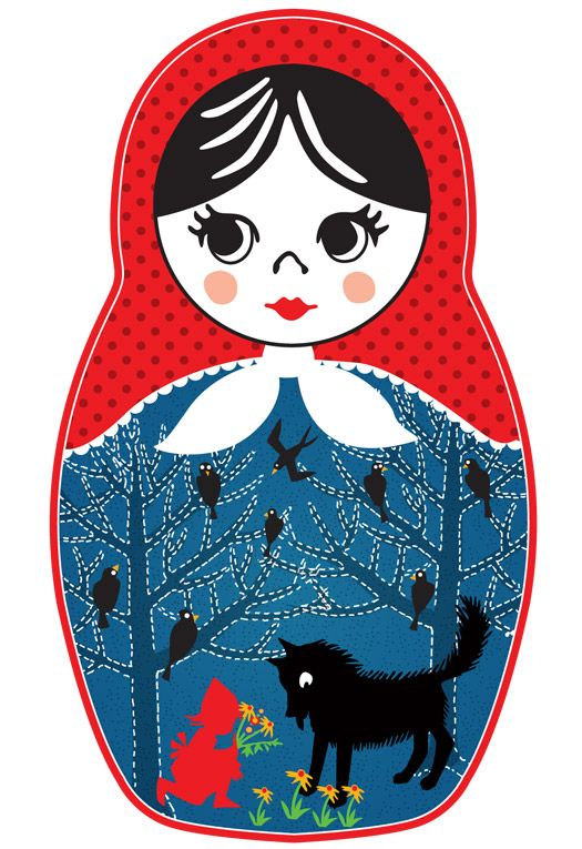 """Printable matryoshka Russian doll with an illustration to """"The Red Riding Hood"""" on its apron."""