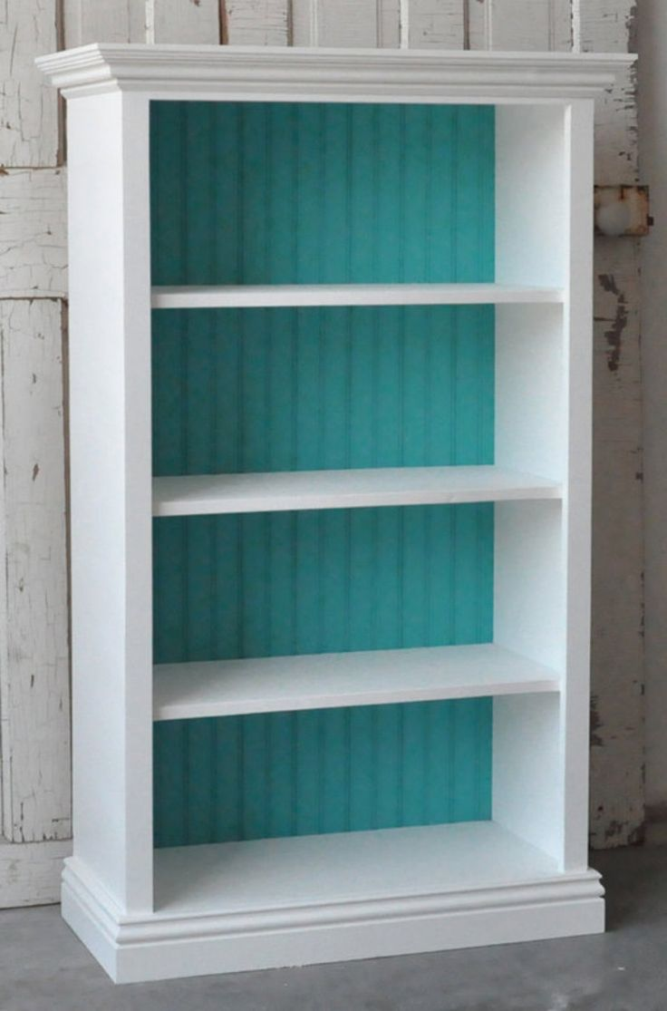 For the kids room!- white bookshelf with painted backing. either the same  purple as the accent wall or the turquoise accent color - Best 25+ Bookcase Redo Ideas On Pinterest Cheap Bookcase, Diy