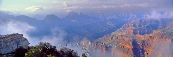 Panorama photo of Grand Canyon after a storm