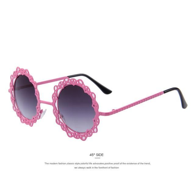 c8be4496b0f MERRY S Women Metal Hollow Out Round Sunglasses Vintage Retro Sun glasses  Fashion Lace Flower Glasses