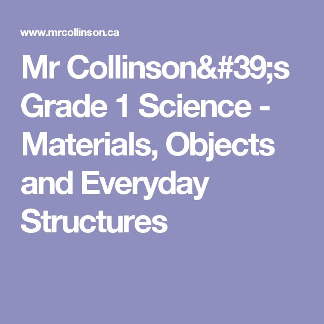 Mr Collinson's Grade 1 Science - Materials, Objects and Everyday Structures