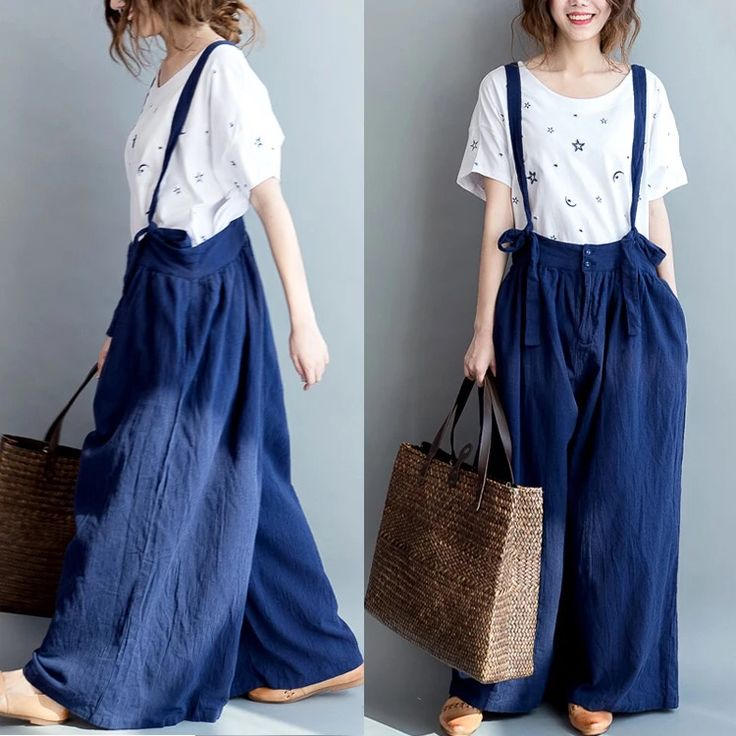 Blue loose pants women's clothes