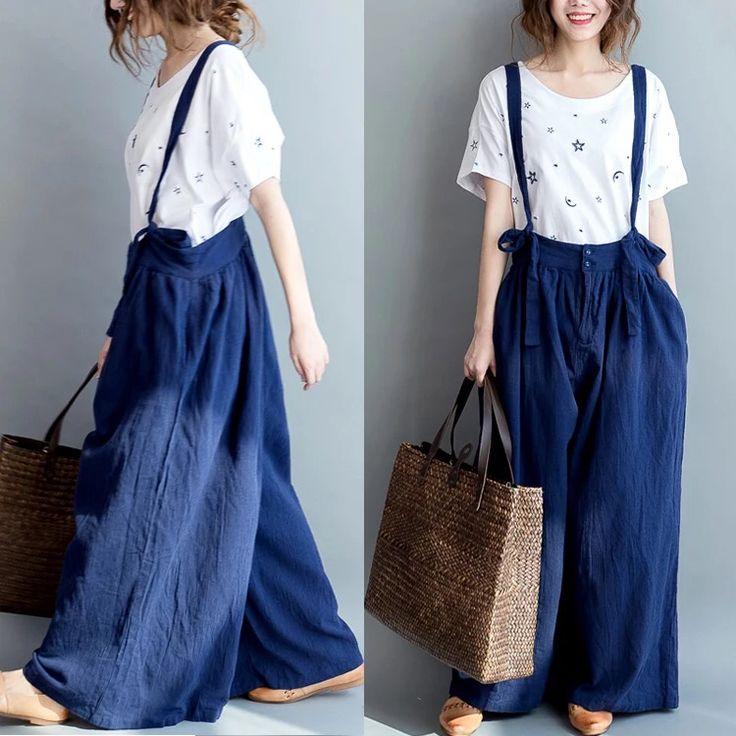 Blue loose pants women's clothes